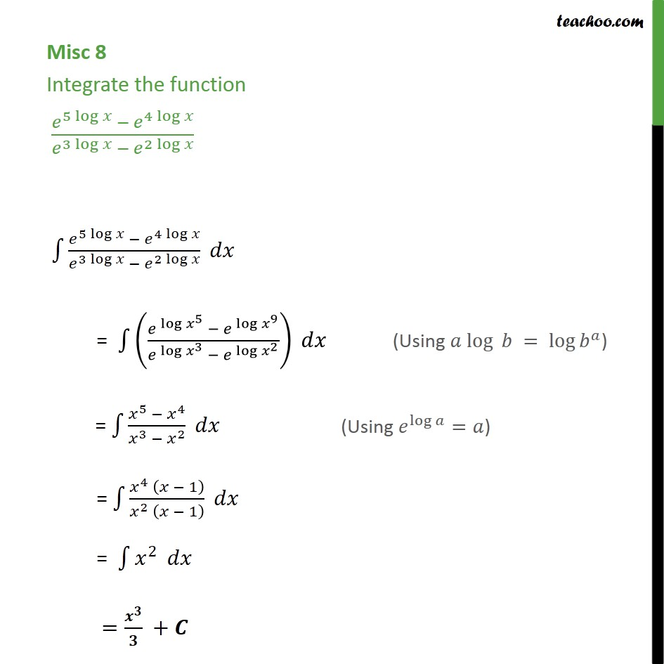 Misc 8 - Integrate e5 log x - e4 log x / e3 log x - e2 log x - Miscellaneous