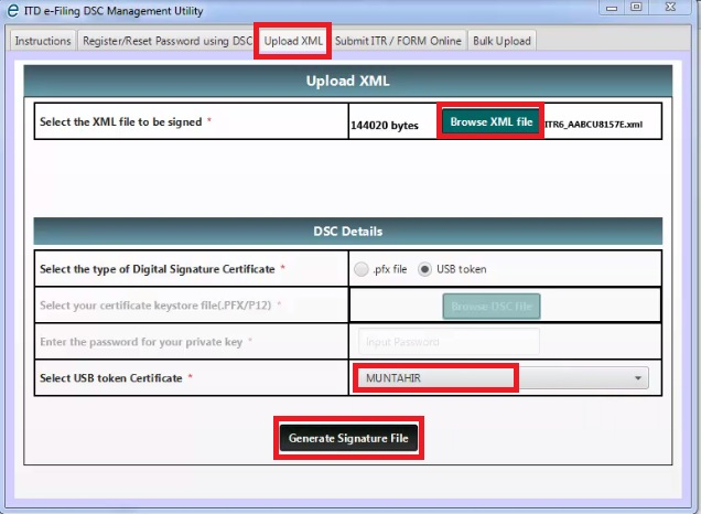 1. Select Upload XML and fill all details then click Generate Signature FIle.jpg