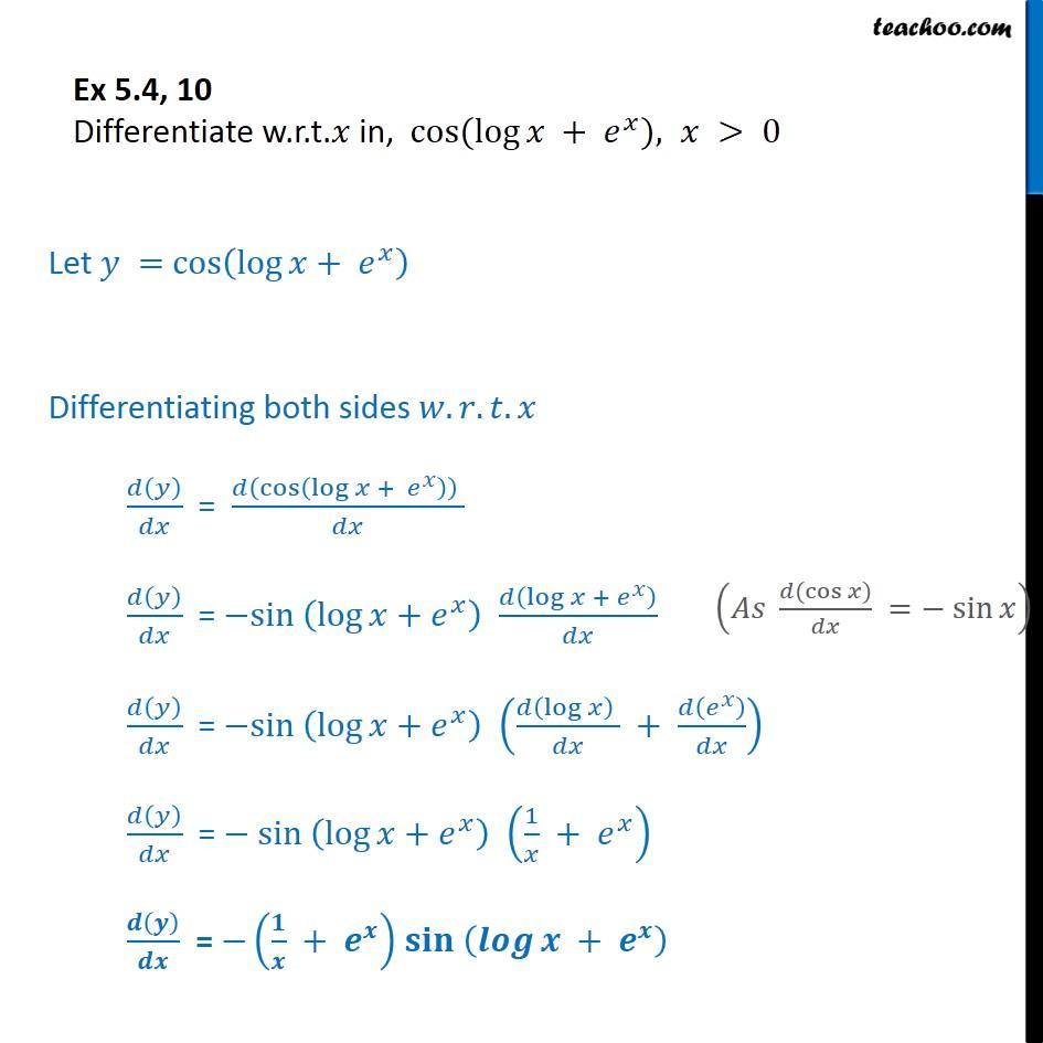 Ex 5.4, 10 - Differentiate cos (log x + ex) - Chapter 5 CBSE - Ex 5.4