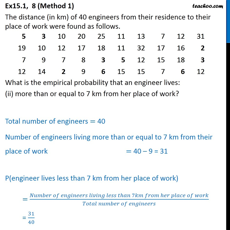 Ex  15.1, 8 - Chapter 15 Class 9 Probability - Part 2