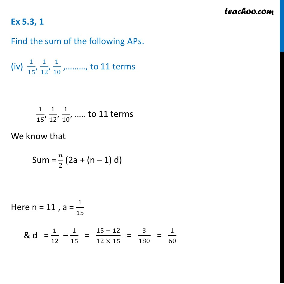 Ex 5.3, 1 - Chapter 5 Class 10 Arithmetic Progressions - Part 7