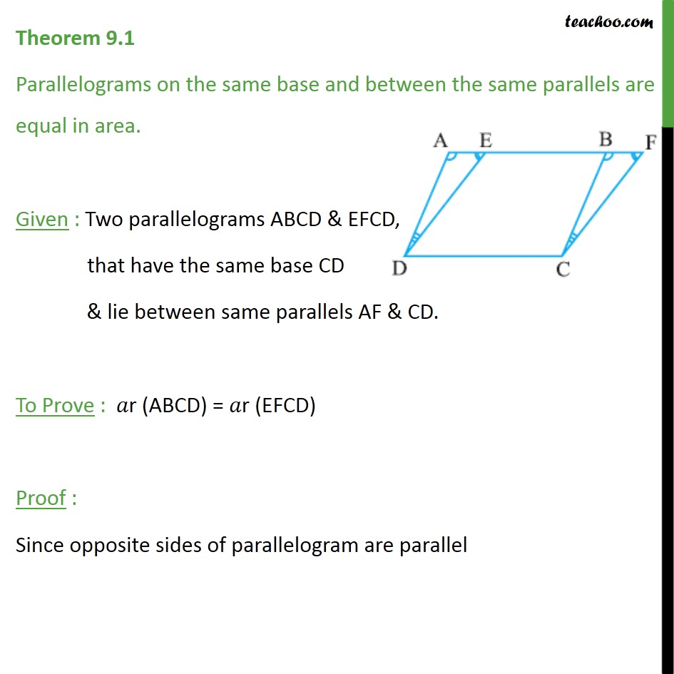Theorem 9.1 - Class 9th - Parallelograms on same base and between same parallels are equal in area - Paralleograms with same base & same parallel lines