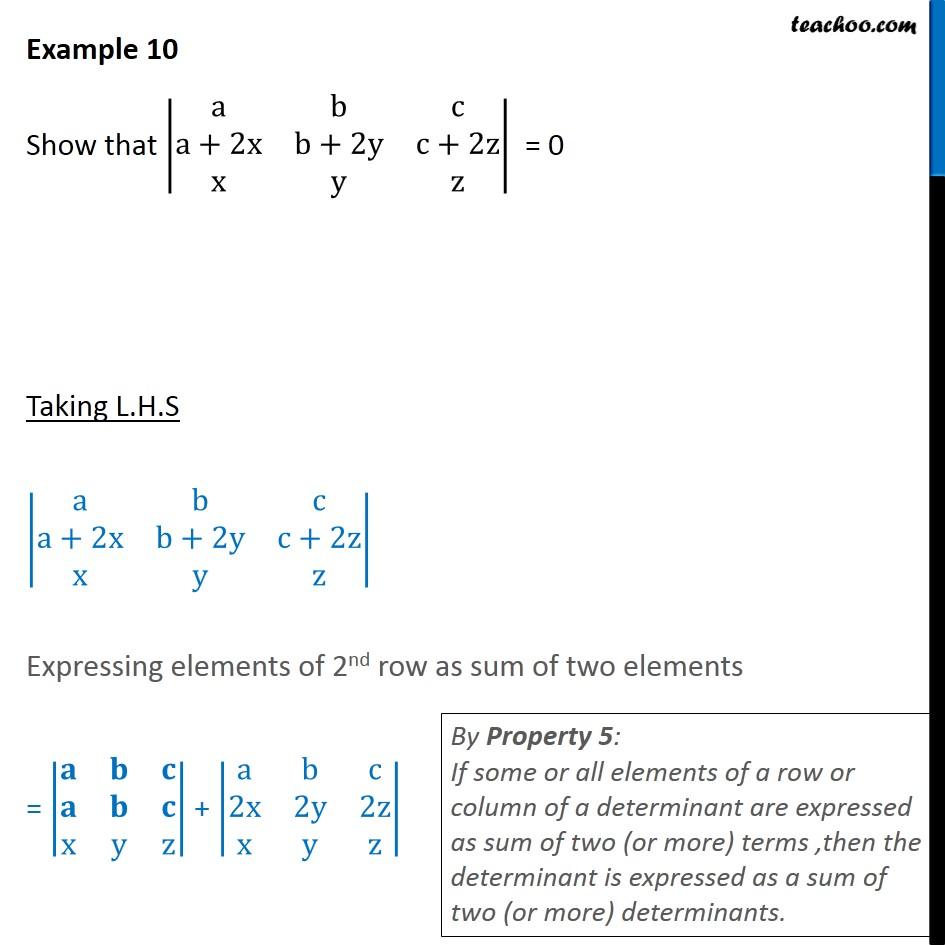 Example 10 - Show |a b c a+2x b+2y c+2z x y z| = 0 - Examples