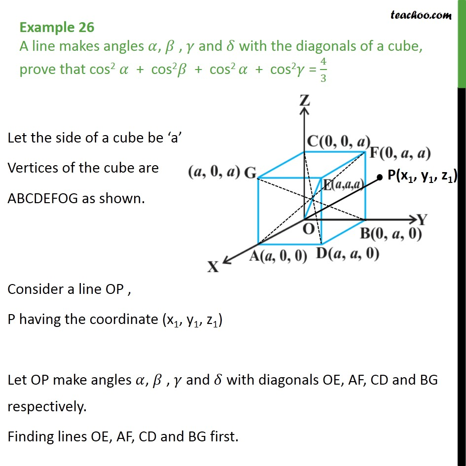 Example 26 - Chapter 11 3D Geometry Class 12 - A line makes - Direction cosines and ratios