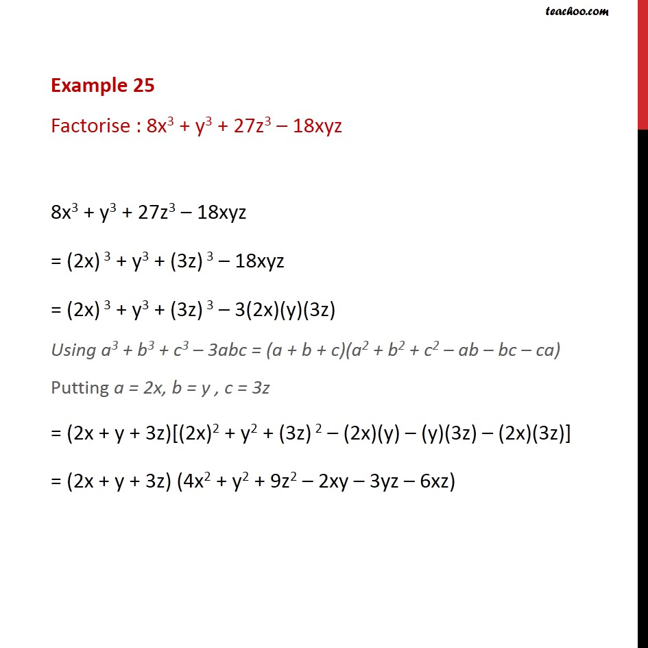 Example 25 - Factorise: 8x3 + y3 + 27z3 - 18xyz - Class 9 - Identity VIII