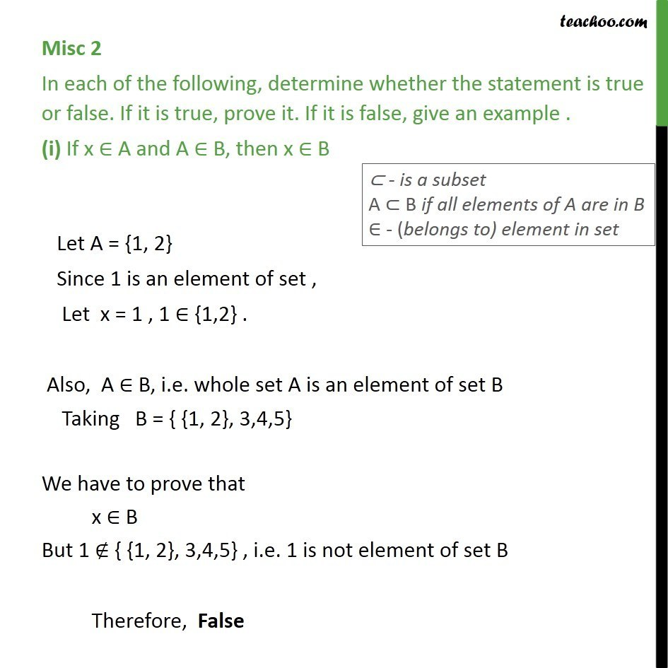 Misc 2 - True or false (i) If x A, A belongs B, then x - Sets - Subset