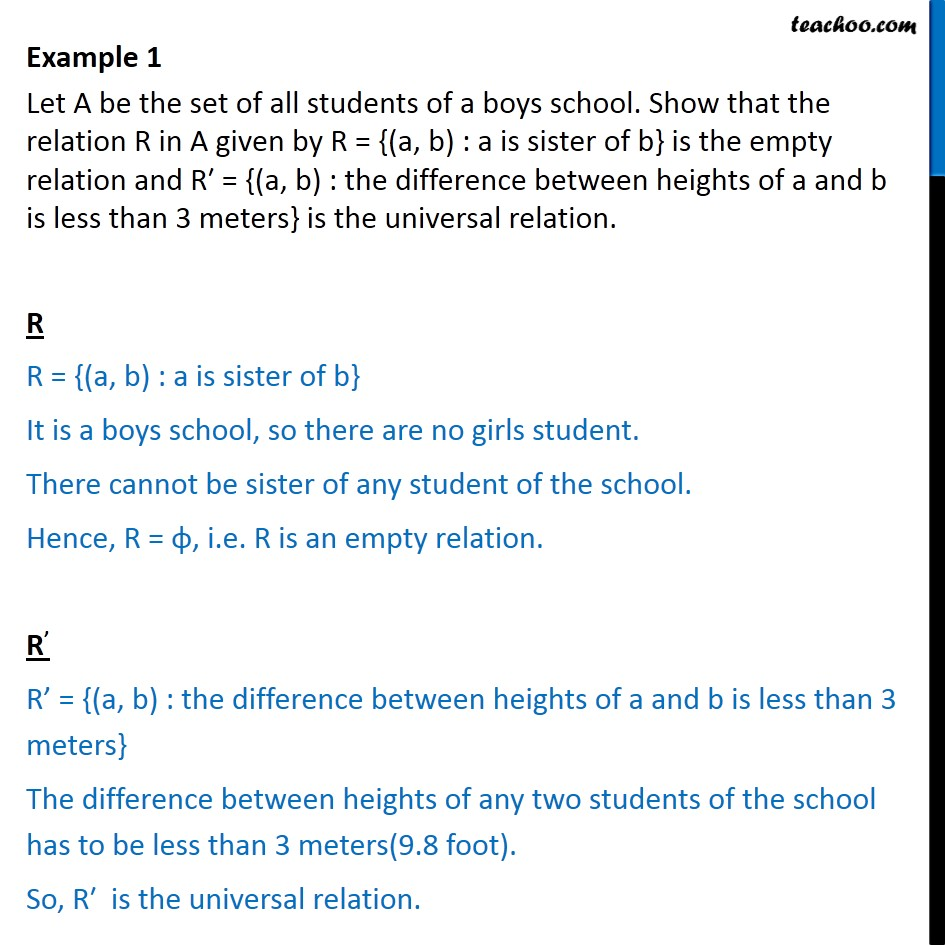 Example 1 - Let A be set of all students of a boys school - Examples