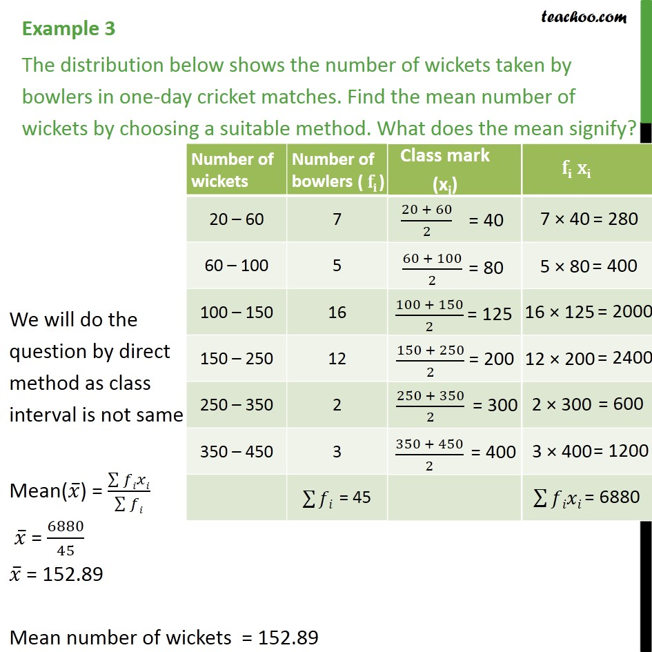 Example 3 - Number of wickets taken by bowlers in one-day - Mean