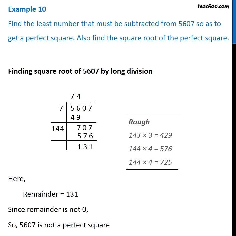 Example 10 - Find the least number that must be subtracted from 5607
