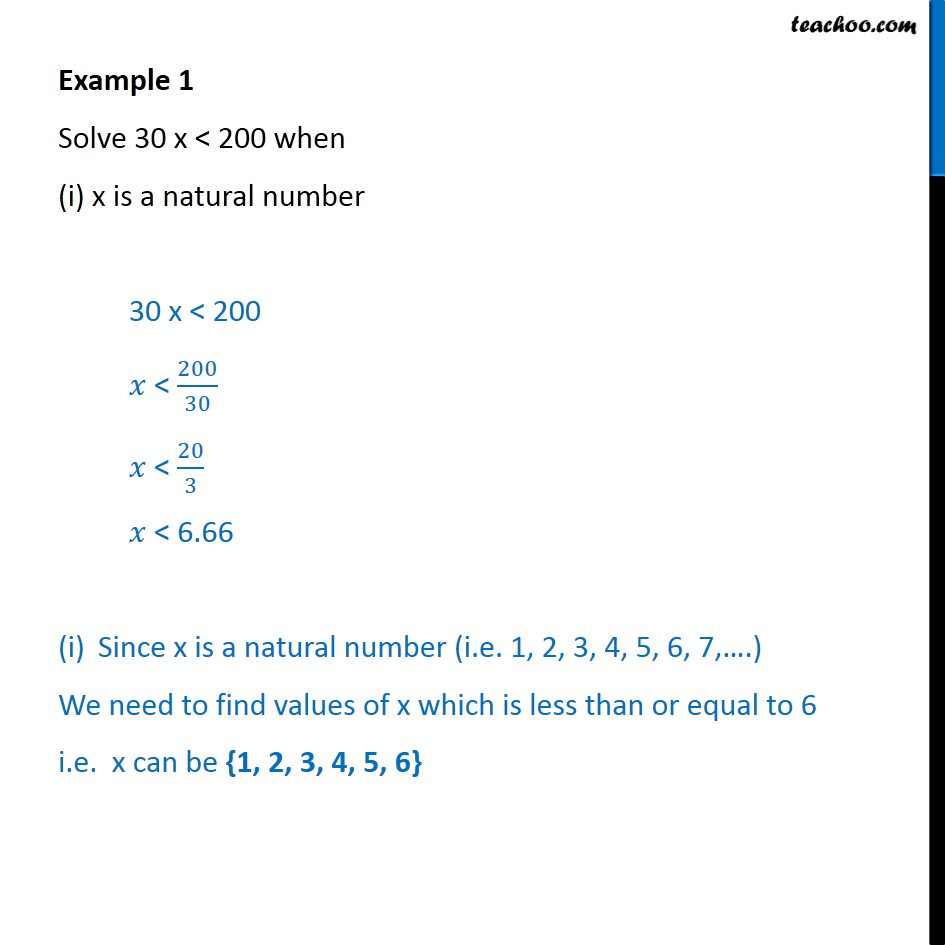 Example 1 - Solve 30x < 200 when (i) x is a natural number - Examples