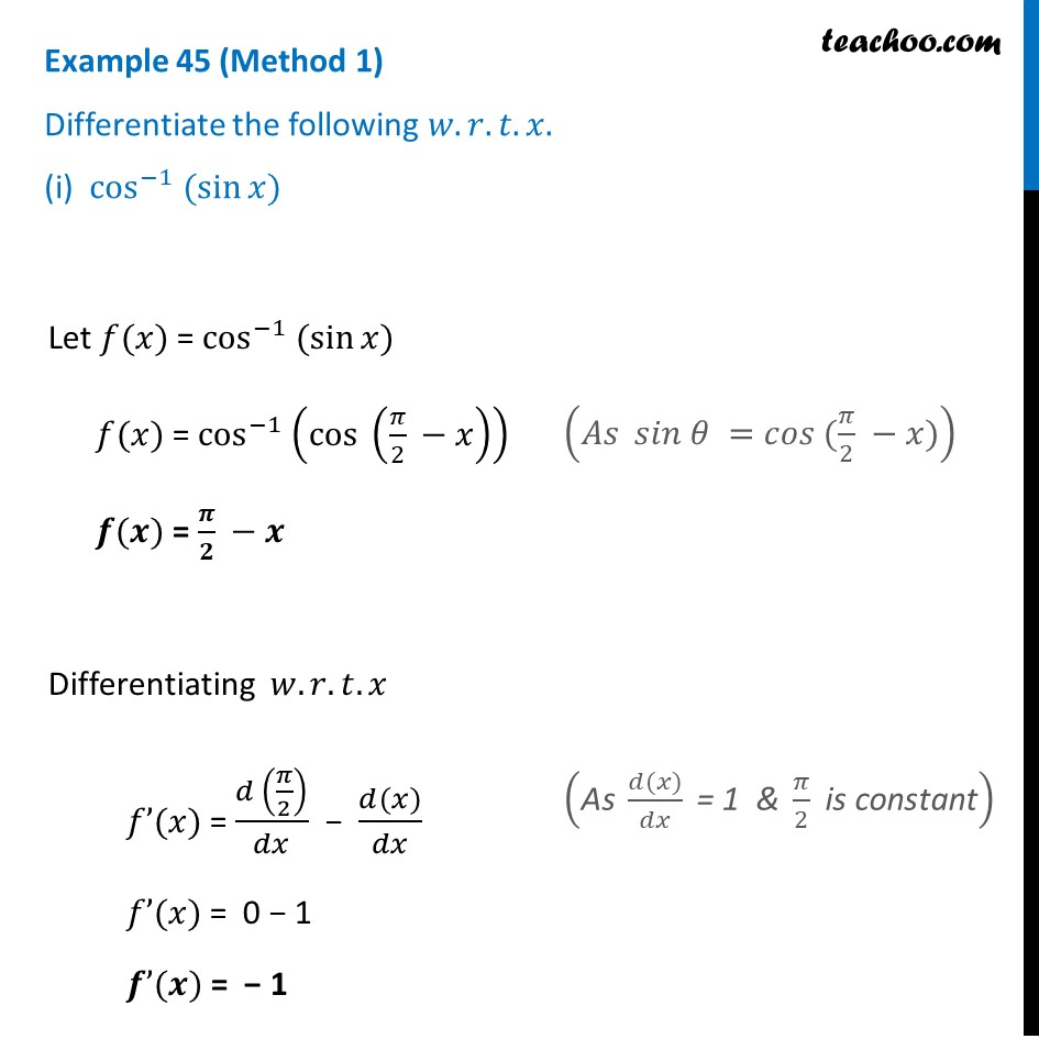Example 45 - Differentiate (i) cos-1 (sin x) - Chapter 5