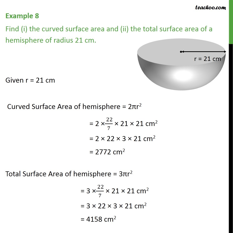 Example 8 - Find (i) the curved surface area and (ii) the - Examples