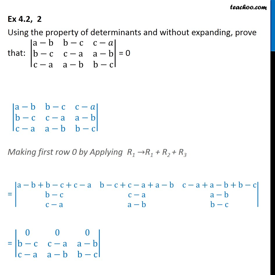Ex 4.2, 2 - Using property of determinants - Class 12 CBSE - Whole row/column zero