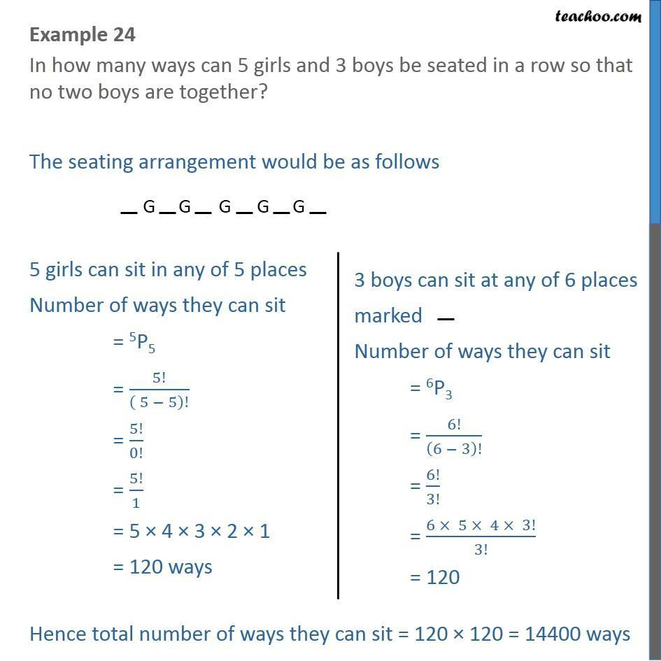 Example 24 - In how many ways can 5 girls and 3 boys be seated - Permutation- non repeating