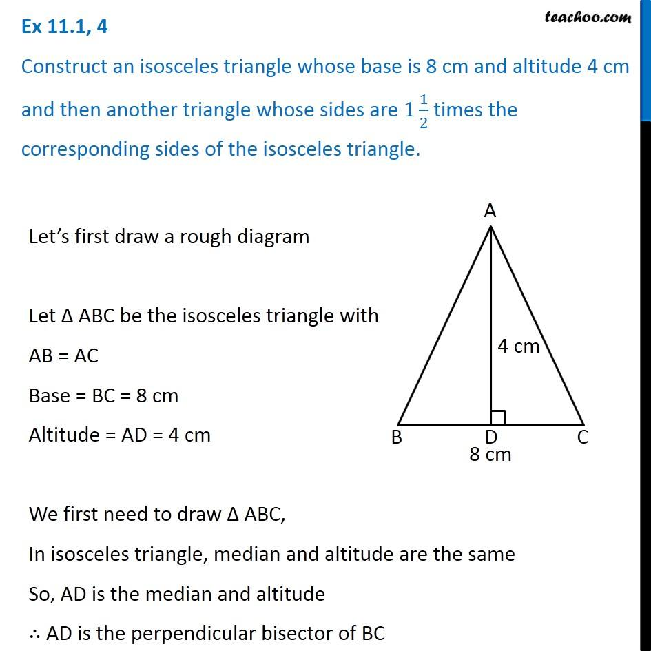 Ex 111 4 Construct An Isosceles Triangle Whose Base Is 8 Cm