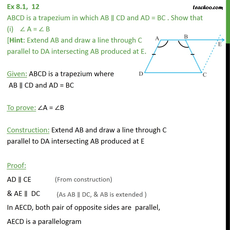 Ex 8.1, 12 - ABCD is a trapezium in which AB || CD and AD = BC - Ex 8.1