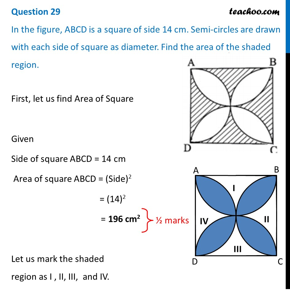 In the figure, ABCD is a square of side 14 cm. Semi-circles are drawn