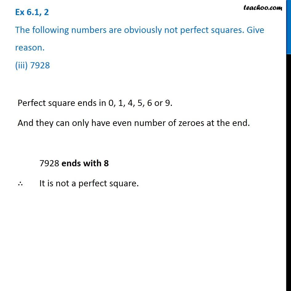 Ex 6.1, 2 - Chapter 6 Class 8 Squares and Square Roots - Part 3
