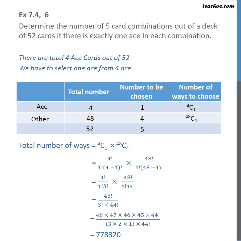 Ex 7.4, 6 - Determine number of 5 card combinations of a deck - Combination