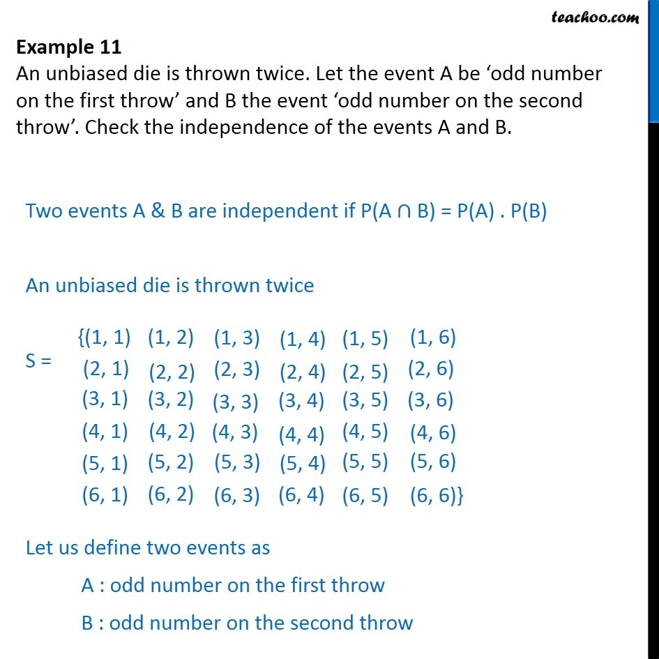 Example 11 - Let event A be 'odd number on first throw' - Examples