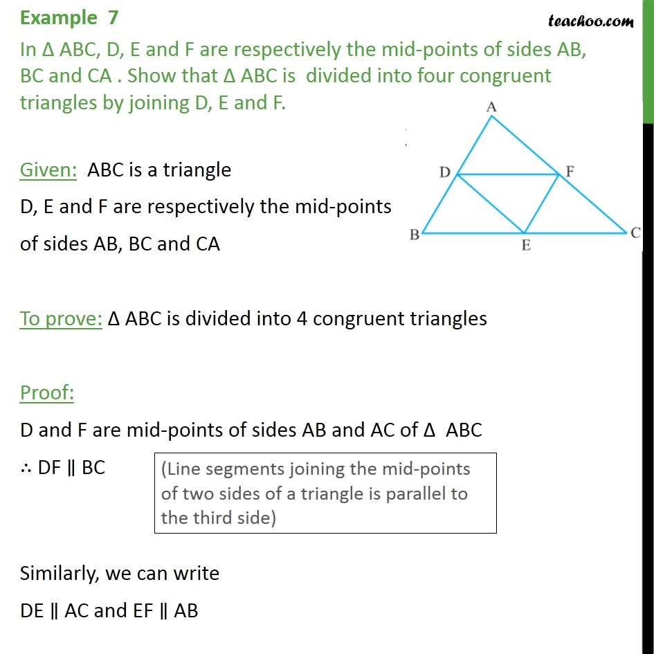 Example 7 - In ABC, D, E and F are mid-points of sides - Examples