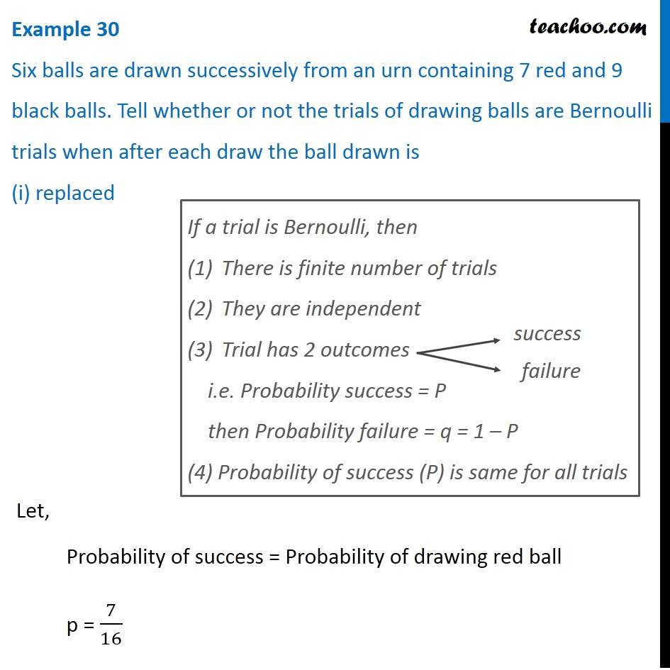 Example 30 - Six balls are drawn successively from an urn