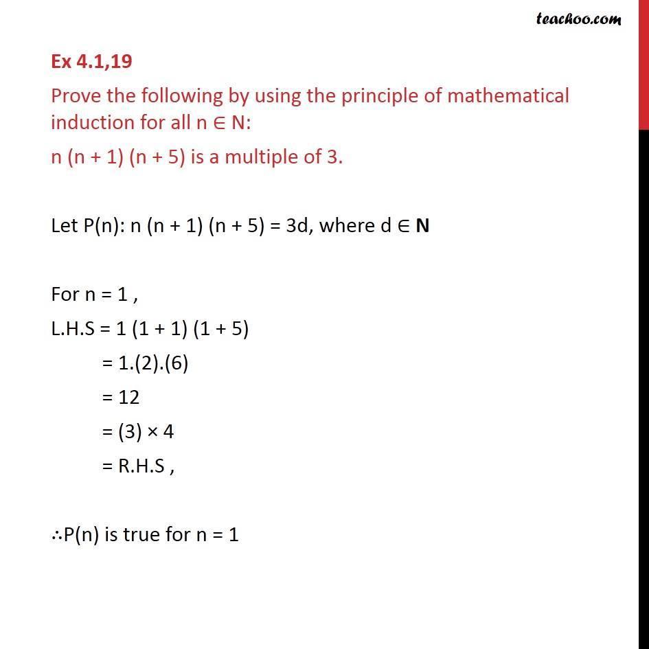 Ex 4.1, 19 - Chapter 4 Class 11 Mathematical Induction - Part 2
