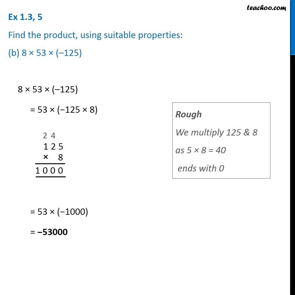 Ex 1 3, 5 - Find product, using suitable properties (a) 26 x (- 48)