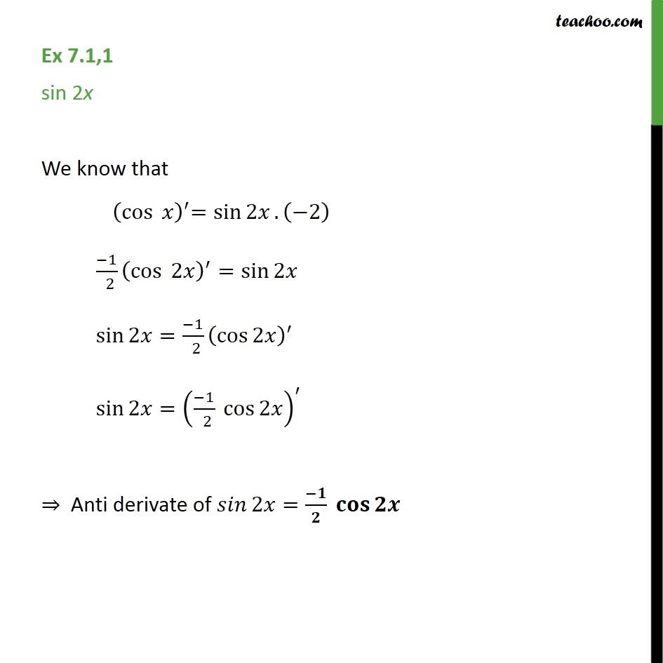 Ex 7.1, 1 - Integrate sin 2x - Chapter 7 Class 12 - Ex 7.1