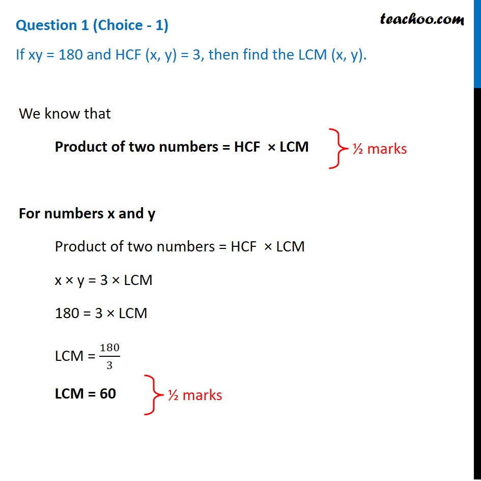 If xy=180 and HCF(x, y)=3, then find the LCM(x, y) - Teachoo [Video]