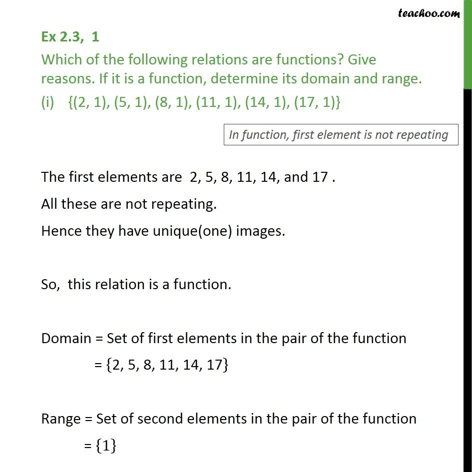 Ex 2.3, 1 - Which relations are functions. If function, domain - Functions - Definition