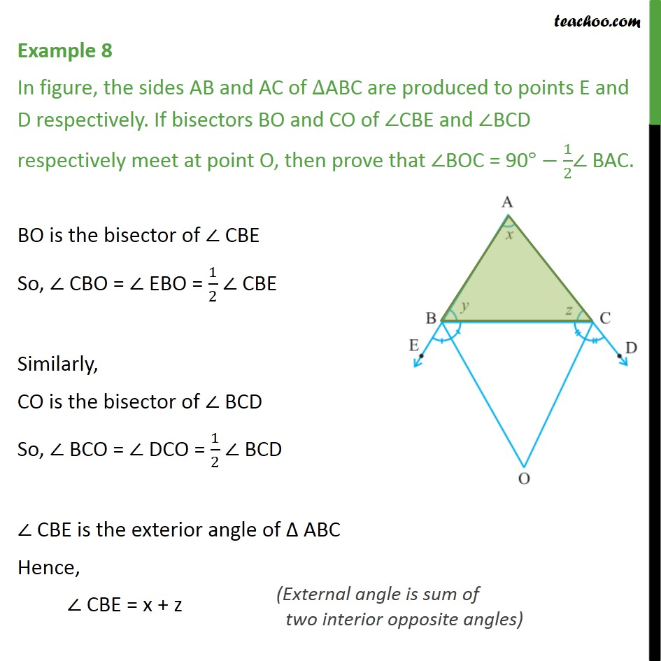Example 8 - Sides AB & AC of ∆ABC are produced to points E & D - Triangle - Problems