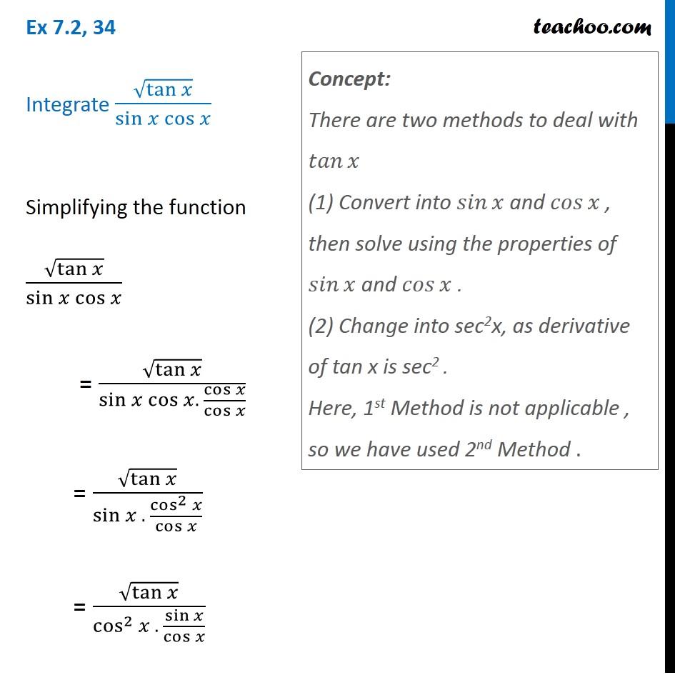 Ex 7.2, 34 - Integrate root(tan x) / sin x cos x - teachoo