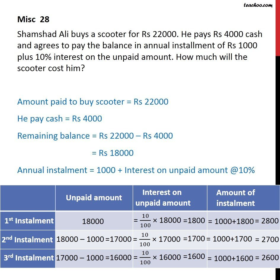 Misc 28 Shamshad Ali buys a scooter for Rs 22000. He pays 4000 - Miscellaneous