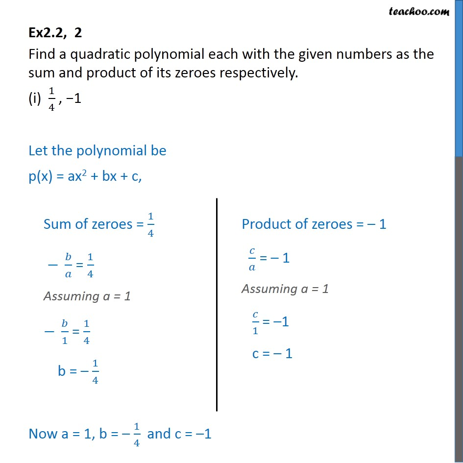 Ex 2.2, 2 - Find a quadratic polynomial each with given - Ex 2.2