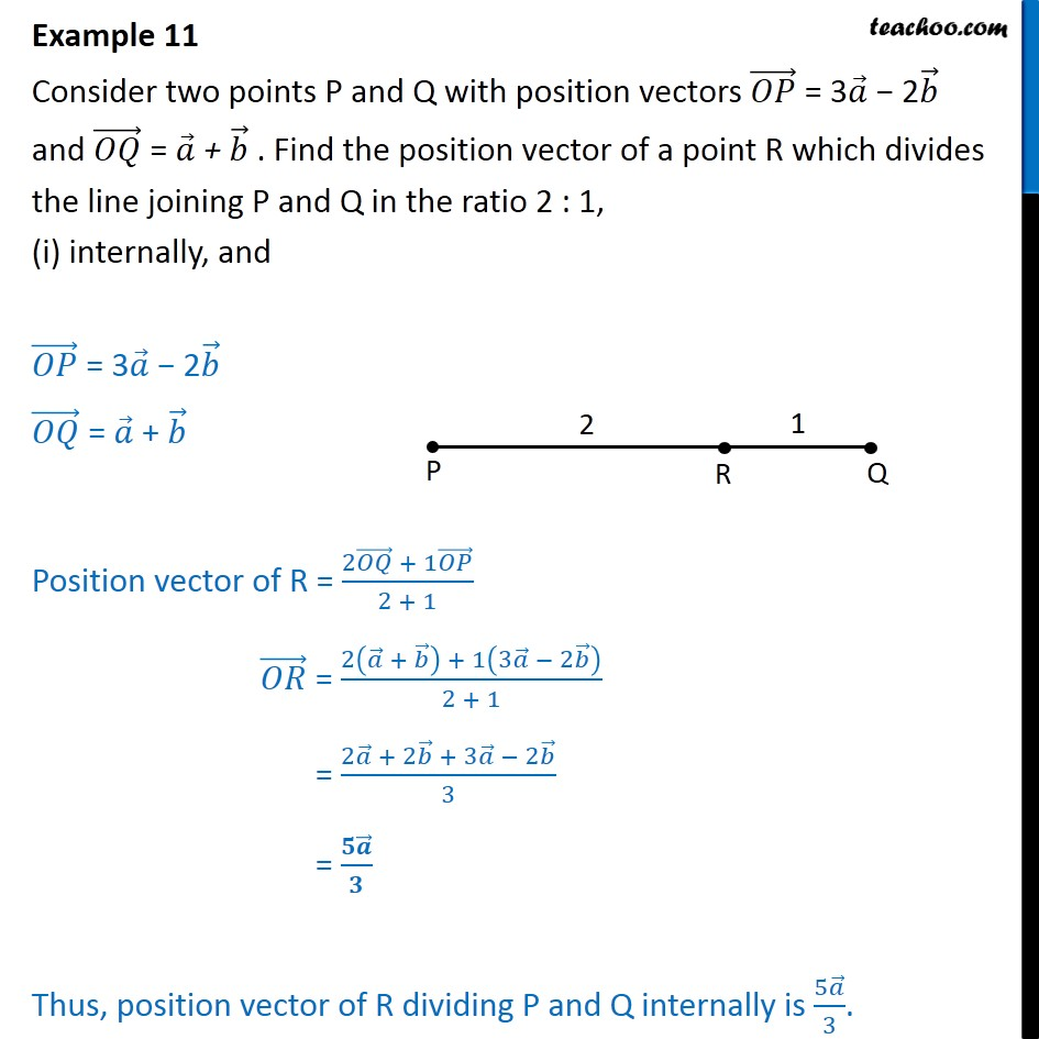 Example 11 - OP = 3a - 2b, OQ = a + b. Find position vector - Section formula