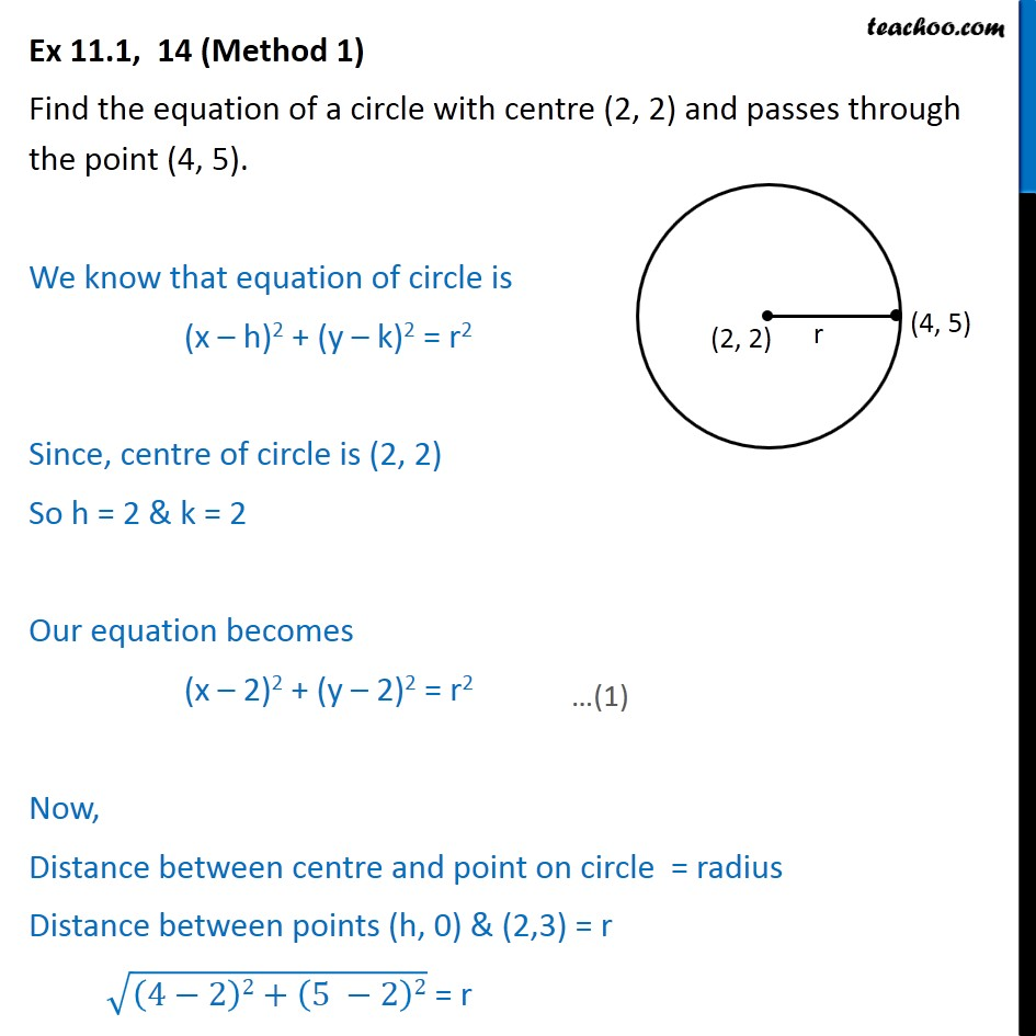 Ex 11.1, 14 - Equation of a circle with centre (2, 2), passes - Ex 11.1