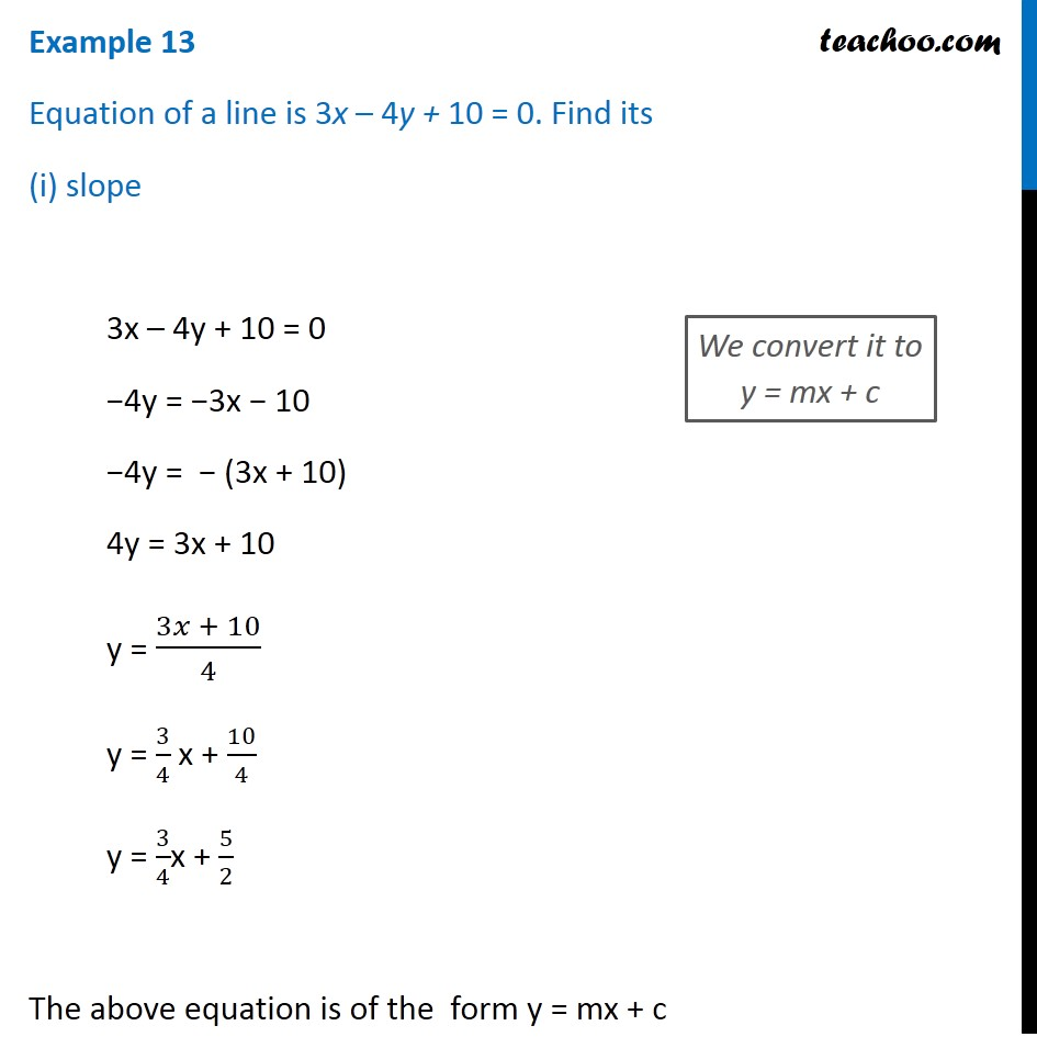 Example 13 - Equation of a line is 3x - 4y + 10 = 0. Find