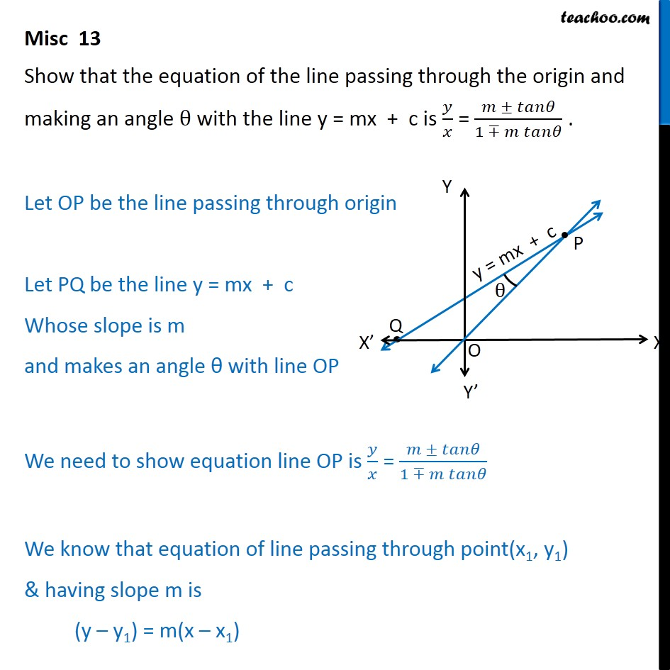 Misc 13 - Equation of line passing through origin, making angle - Angle between two lines