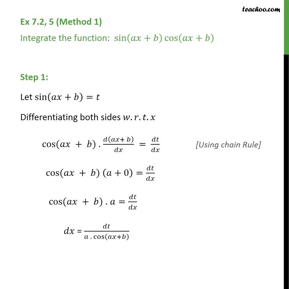 Ex 7.2, 5 - Integrate sin (ax + b) cos (ax+b) - Ex 7.2
