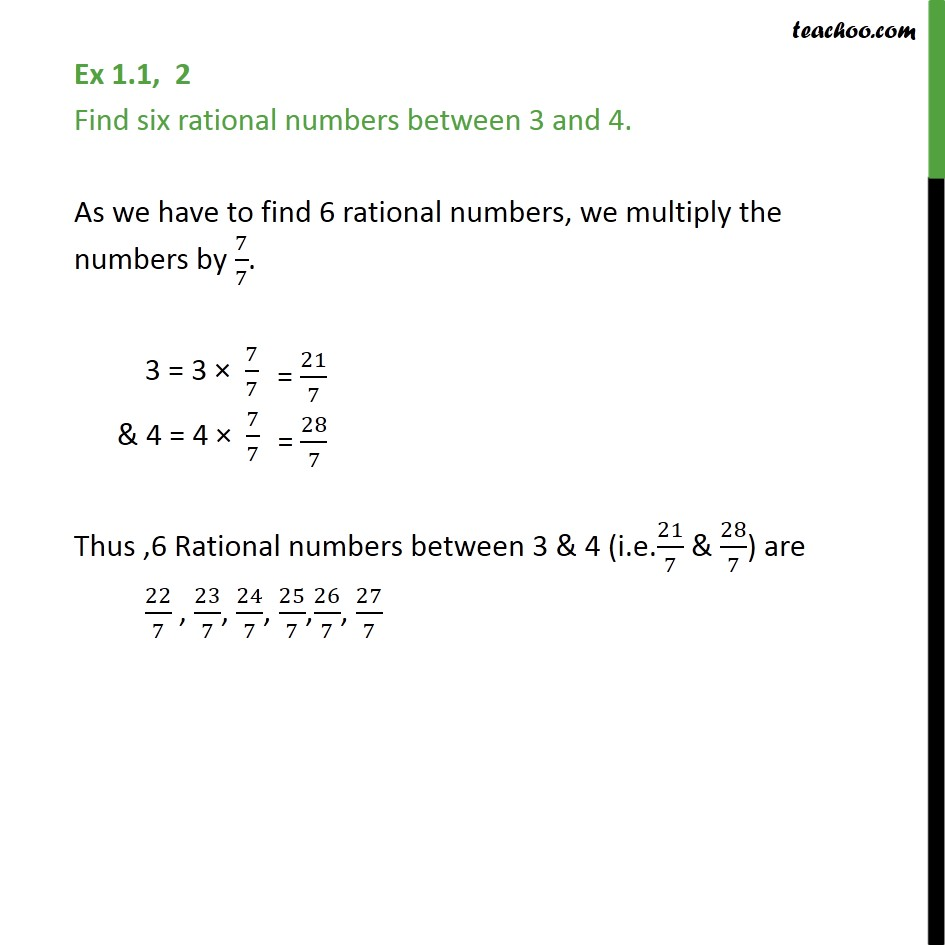 Ex 1 1 2 Find Six Rational Numbers Between 3 And 4 With Video