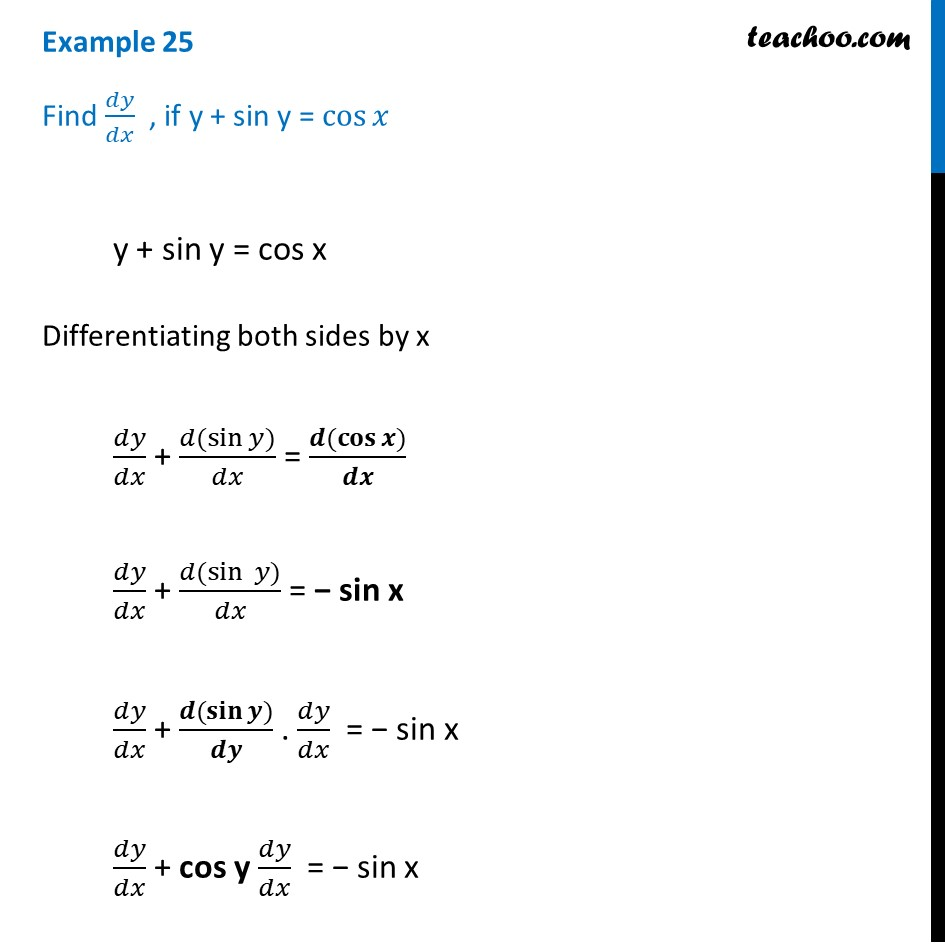 Example 25 - Find dy/dx, if y + sin y = cos x - Chapter 5 Class 12
