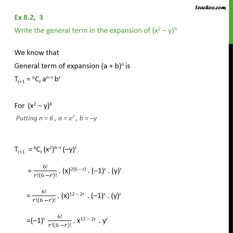 Ex 8.2, 3 - Write general term in (x2 - y)6 - Chapter 8 - General Term - Defination