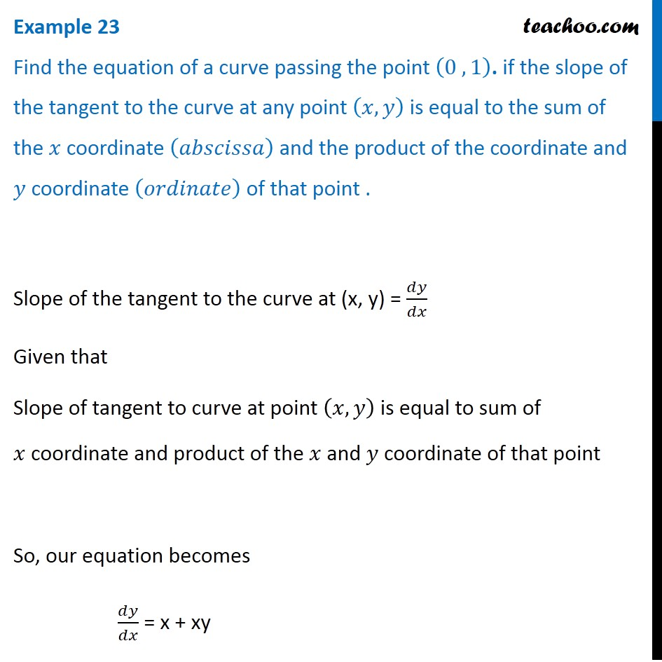 Example 23 - Find equation of a curve passing (0,1) if slope of