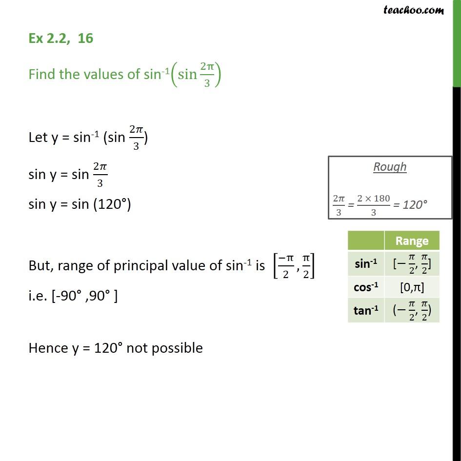 Ex 2.2, 16 - Find sin-1 (sin 2pi/3) - Chapter 2 NCERT - Ex 2.2