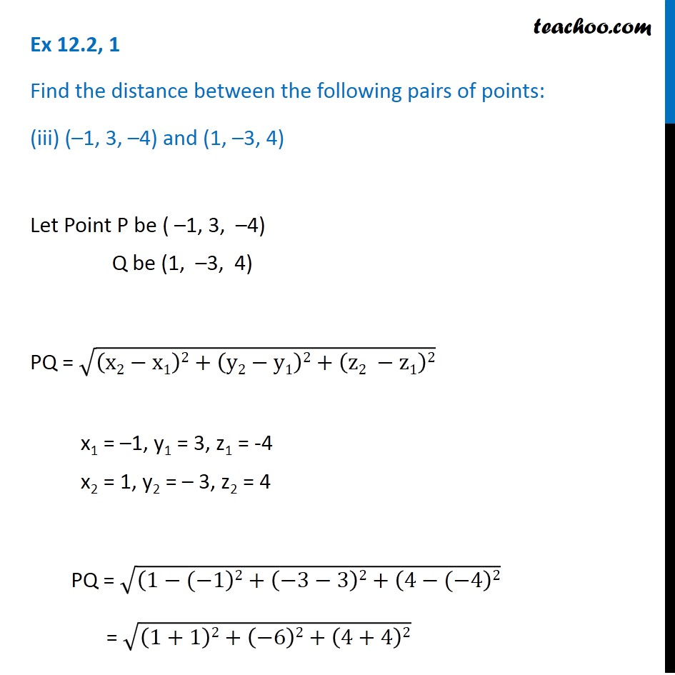 Ex 12.2,  1 - Chapter 12 Class 11 Introduction to Three Dimensional Geometry - Part 5