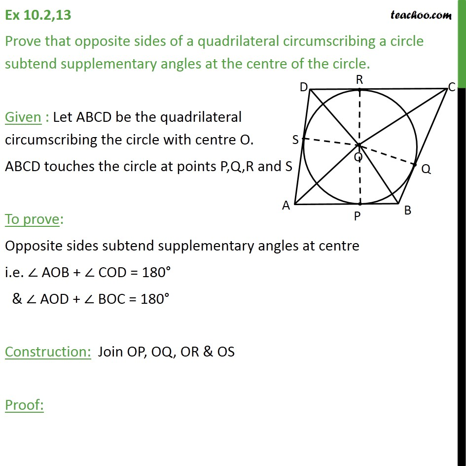 Ex 10.2, 13 - Prove that opposite sides of a quadrilateral - Theorem 10.2: Equal tangents from external point (proof type)