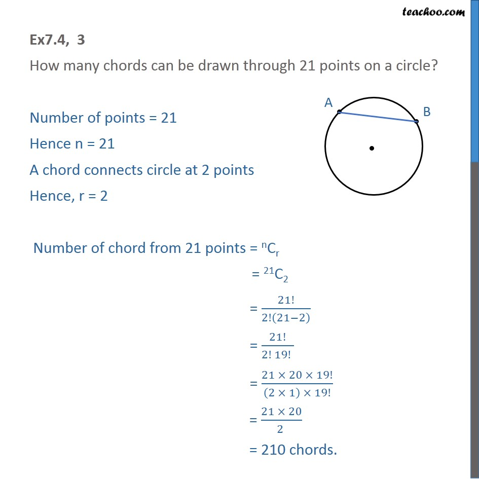 Ex 7.4, 3 - How many chords can be drawn through 21 points - Ex 7.4