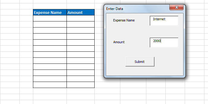 Add user form to fill table - Macros