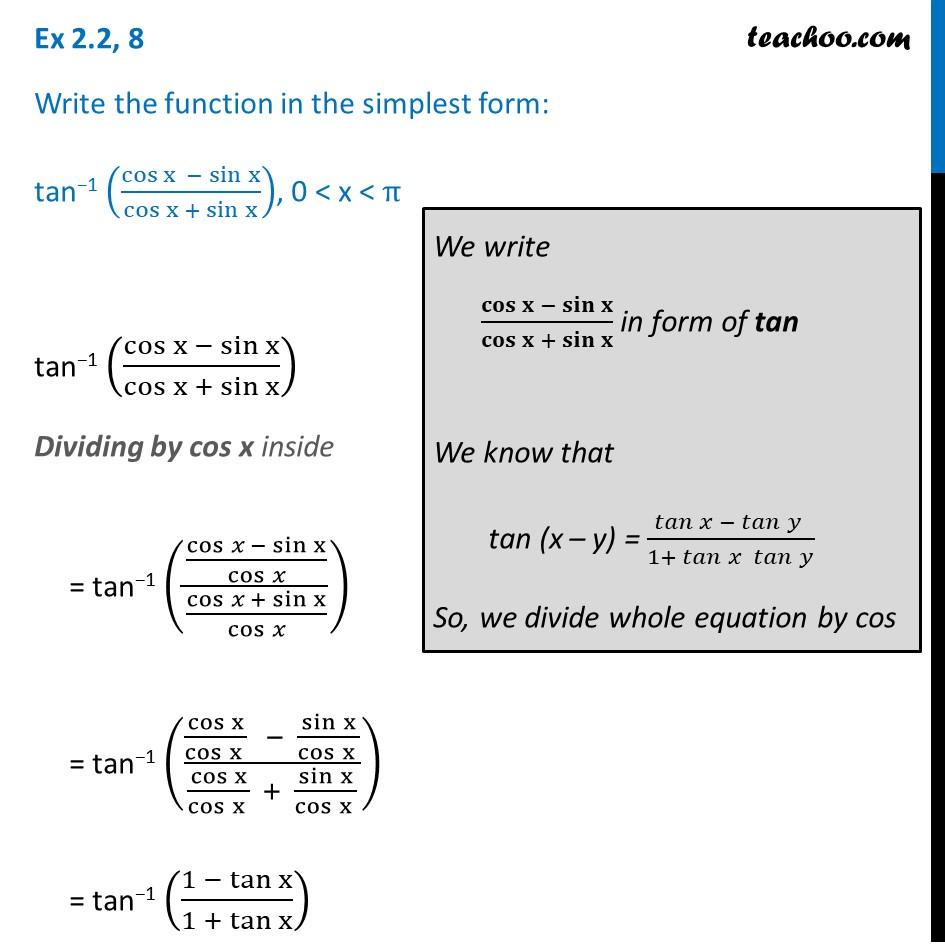 Ex 2.2, 8 - Chapter 2 Class 12 Inverse - tan-1 (cos x - sin x)
